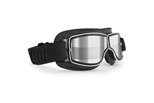 Bertoni Motorradbrille Schutzbrille für Harley Davidson Chopper und Scrambler aus schwarzem Leder und Chrom Rahmen - AF188A