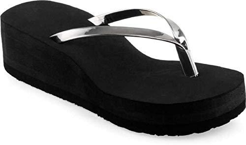 KOMOPT Heels Slipper 101 (7, Silver)