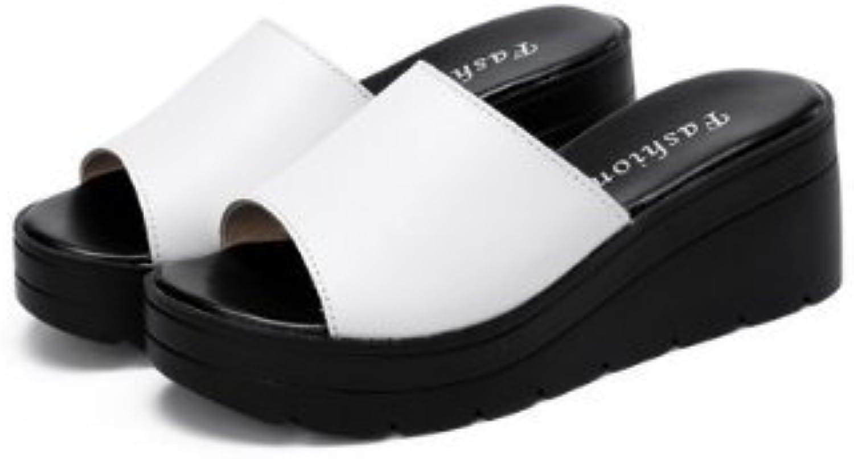 GYHDDP Einfache Steigung mit dicken unteren Pantoffeln Weibliche Sommer-Mode Wort Drag Sandalen Anti-Rutsch loseö