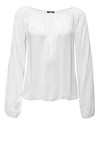 Hailys Damen Langarmbluse Carmenbluse Tunika (M, Offwhite/Style 2)