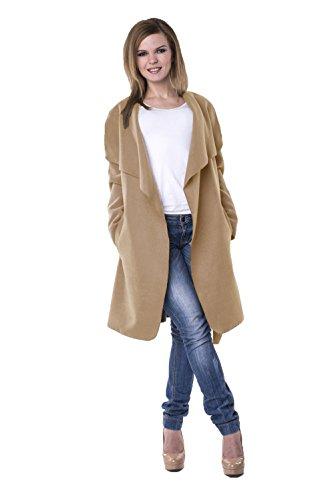 Damen Blogger Wasserfall Kragen Mantel Übergangs Jacke 34 36 38 One Size B102 Camel/Kurz