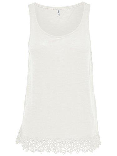 ONLY Damen Bluse Tunika Shirt onlJULIA S/L TOP ESS Spitze Sommertop creme-weiß (Cloud Dancer)