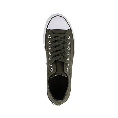 Sneaker Elara Unisex | Signore Uomo | Basso In Alto | Chunkyrayan Verde Scuro