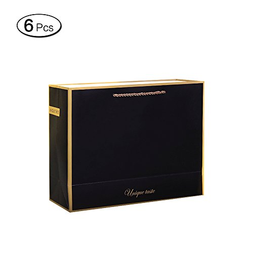 Jia HU 6pcs Elegante Schwarz Papier Geschenktüten mit Griffen Paket Tasche Bulk für Tuch Geschenk S