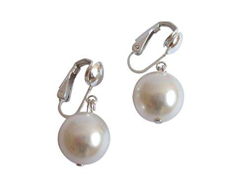 Gemshine - Damen - Ohrclips - Perlen - Tahiti - Weiß - 925 Silber - 12 mm