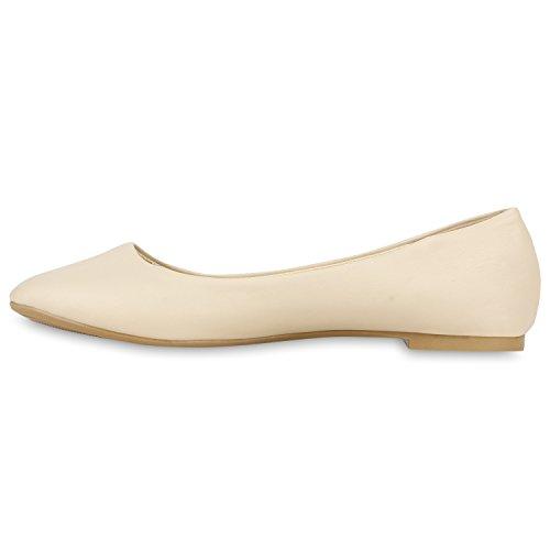 Klassische Damen Ballerinas Lederimitat Schuhe Nude Metallic Nude