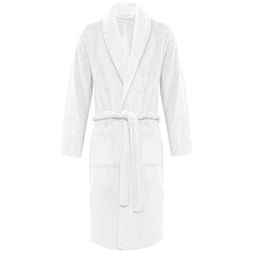 Peignoir classique pour femmes et hommes Taille, nombreuses couleurs à la mode Morgenmantel Saunamantel Coton terry avec capuche de la série Föhr Col blanc