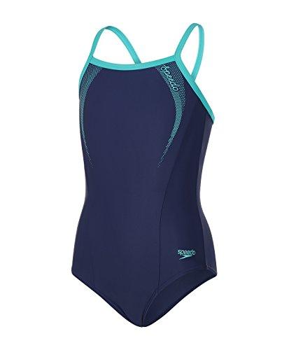 Speedo Mädchen Sports Logo Thinstrap Muscleback Swimwear, Navy/Jade, 164