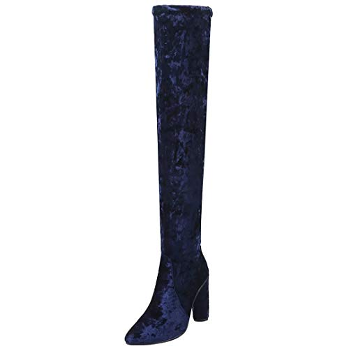AIYOUMEI Damen Stretch Overknee Stiefel mit 10cm Absatz Bequem Modern Langschaftstiefel Schuhe