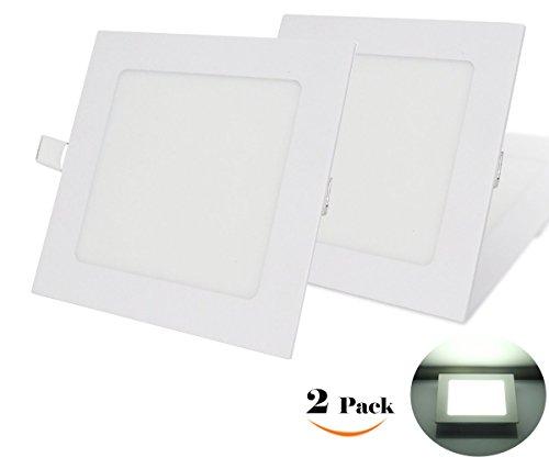 NRG Clever® SPA3CW, Packung mit 2 Stück, Deckeneinbauleuchten LED-Einbauleuchte 3W, Ultradünnem Platz 90mm x 90mm 270LM, Kalt Weiß 6500K, enthält die Transformatoren LED-Treiber 85-265Vac