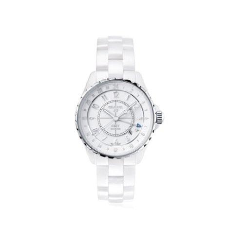 CHANEL J12GMT automatico analogico orologio da donna in ceramica bianco H3103