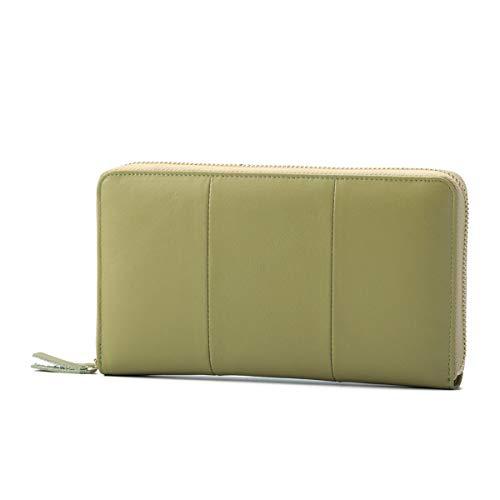 Damen Leder Geldbörse, Brenice RFID Rindleder Reißverschluss Lange Brieftaschen Große Kapazität 11 Kartenhalter Geldbörse für Frauen Grün -