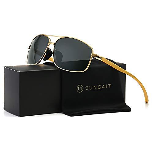 SUNGAIT Herren ultra-leicht rechteckig polarisierte sonnenbrille 100% uv-schutz Gold Rahmen Grau Linse Free Size