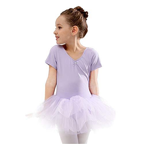 Yishelle Tanzkleider für Mädchen, Kinder Mädchen Balletttanz Trikot Kleid Kurzarm Niedlich Tutu Dancewear Kleid Professionelle Bühnenshow Wettbewerb Tanz Kostüme Elegantes und süßes Design