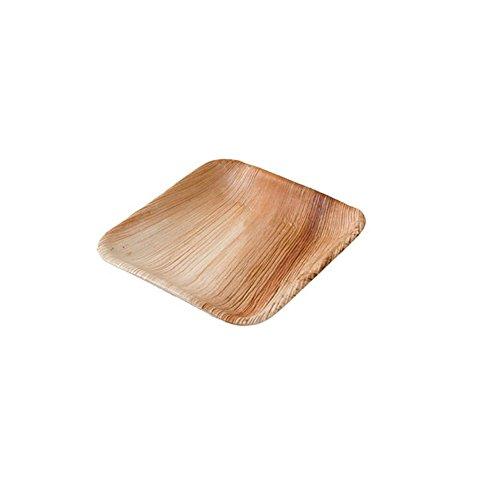 BIOZOYG Hochwertiges Palmblattgeschirr | 25 Stück Palmblatt Teller rechteckig 15 x 15 cm | Bio Einweggeschirr biologisch abbaubar Partygeschirr Einmalgeschirr Wegwerfgeschirr