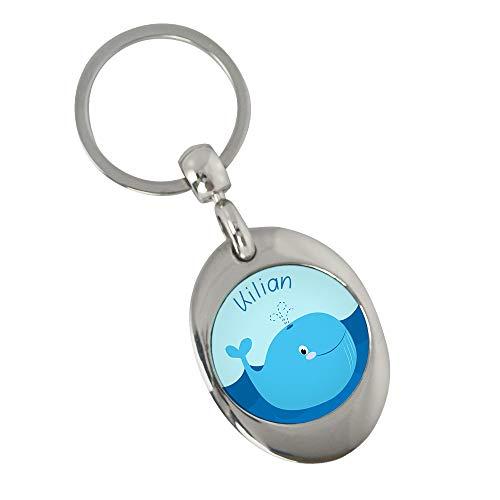 Eurofoto Schlüsselanhänger mit Namen Kilian und Wal-Motiv   Namens-Anhänger mit Einkaufs-Chip für Kinder und Erwachsene