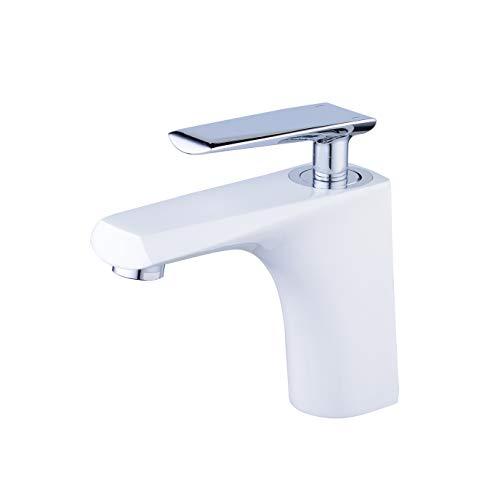 Grifo monomando para lavabo o lavabo, color blanco