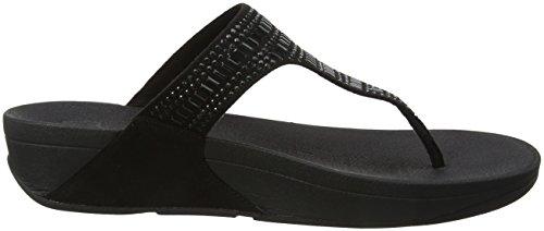 FitFlop Damen Incastone Toe-Thong Sandals Peeptoe Schwarz (Schwarz)