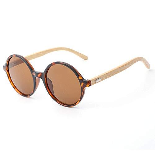Retro Round Frame Vintage Look Qualität UV400 Brille Männer Frauen Unisex Classic Eyewear Polarisierte Brille (Farbe: BRAUN)
