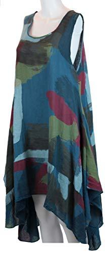 Bild von BZNA Leinen Tunika Kleid Türkis Kleid Leinentunika Shirtkleid 36 38 40 42 one size Damen Dress Oberteil elegant