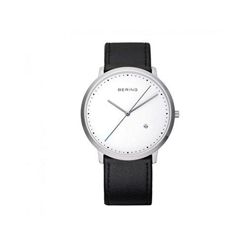 Montre Pour Homme Acier Fond Blanc Bracelet Cuir Noir Lisse Béring