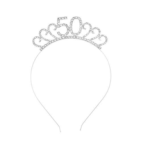 Lurrose Tiara Cumpleaños 50 Años Cristal Diadema
