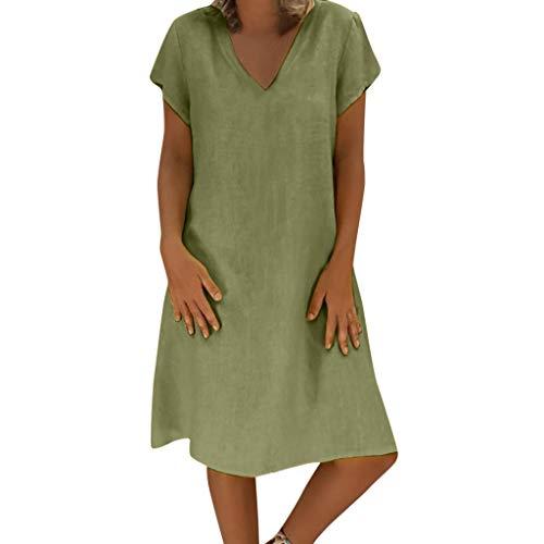 Yvelands Damen Sommerkleider T-Shirt Baumwollbeiläufiges Plus Size Minikleid (Grün,EU-40/XL)
