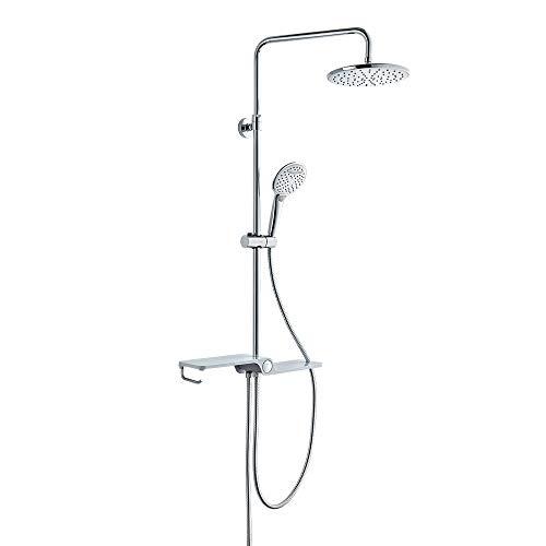 Lonheo asta doccia regolabile per vasca bagno con soffioni doccetta deviatore e mensola saliscendi doccia a parete colonna doccia in inox senza miscelatore