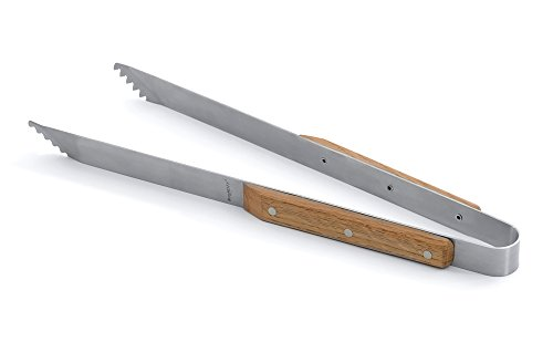 BergHOFF Studio Stainless Steel Barbeque Tongs with Oak Handles, 39.5cm, Silver, 39.5x6.1x2.6 cm