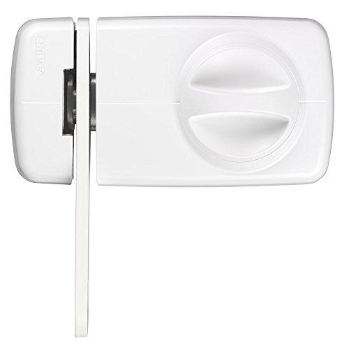 ABUS Türzusatzschloss 7030 mit Sperrbügel und Drehknauf , von Außen auf- und abschließbar , Zusatzsicherung für Haustüren , weiß , 53276