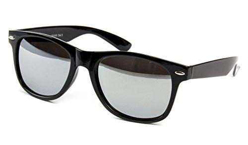 Ciffre-UV®400 Sonnenbrille Nerdbrille Brille Nerd Silber Voll Verspiegelt - Auswahl aus 20 verschiedenen Farben/Modellen (Schwarz Black)