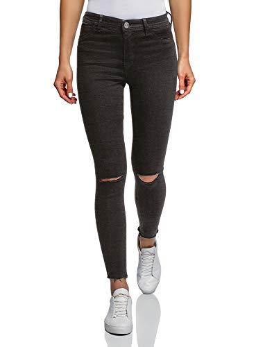 oodji Ultra Damen Skinny Jeans mit Rissen an den Knien, Schwarz, 25W / 30L (DE32 = EU34 = XXS)