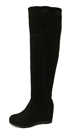 Ladies Black Soft Stretch Over The Knee High Ruched Wedge Boots Shoes Sizes 3-8 1