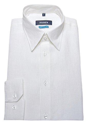 Leinen Hemd weiß HUBER 0371 Slim Fit körperbetonter Schnitt Größe S bis XXL Weiß