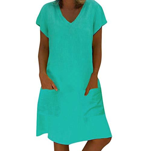 HULKY lose Sommer-Art-Frauen-T-Shirt Feminino-Kleid-Baumwollbeiläufiges Normallack-großes Größen-Kleid(Marine,L2)