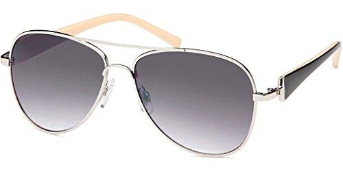 UVprotect® Damen Aviator style Sonnenbrille metall Rahmen silber schwarz W21-1