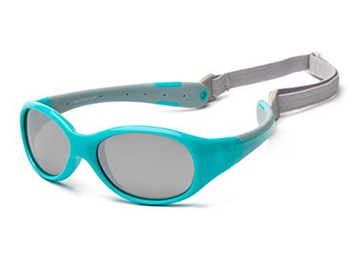 Baby Sonnenbrille 0-3 Jahre | Verspiegelt | Koolsun Flex Aqua Grey | 100% UV Schutz | Mit abnehmbarem Kopfband | Optical Clas 1, Cat. 3 | flexibel & unkaputtbar