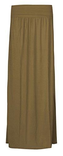 Fast Fashion - Jupe Maxi Longueur Manouche De Taille A Plaine Plié - Femmes Kaki