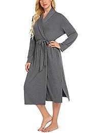 MAXMODA Damen Morgenmantel Lange Ärmel Bademantel Kimono Baumwolle Saunamantel V-Ausschnitt Nachtwäsche