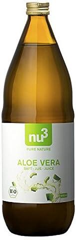 nu3 - Jus d'aloe vera bio - 1L - Pur jus végétal à base de feuilles d'aloe vera - Sans lactose ni gluten - Boisson rafraichissante et naturelle à base de plantes pour une alimentation