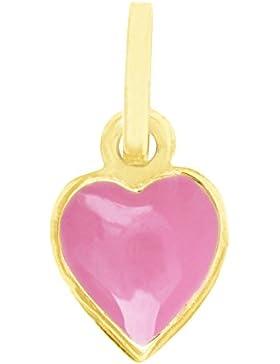 MyGold Herz Anhänger (ohne Kette) Gelbgold 585 Gold (14 Karat) 9mm x 6mm Mini Herzform Herzchen Emaille rosa Taufe...