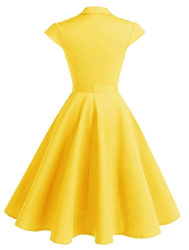 Wedtrend Damen 50er Retro Herzform Knopf Rockabilly Kleid Kurzer Ärmel Swing Kleider mit Gürtel Gelb