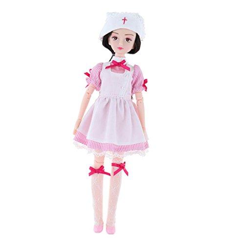 Sharplace Schöne 18 Gelenke Puppenkörper mit Schuluniform Oder Stewardess Uniform Bekleidung Set für 1/6 Xiaojing Puppen Dress up Zubehör - Krankenschwester