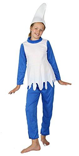 Foxxeo Blaues Zwerg Kostüm für Mädchen zu Fasching und Karneval Kinder Zwergen Kostüm Größe 122-128