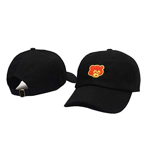 WBSNA Dusche weiß schwarz Khaki Stickerei Hut Hip Hop Baseball Cap Frosch Golf Hut lässig Sonnenhut,Bear Black