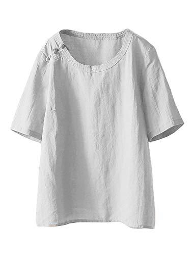 Mallimoda Damen Leinen Tunika Tops Sommer Kurzarm T-Shirt Große Größen Bluse Oberteile Weiß XL -