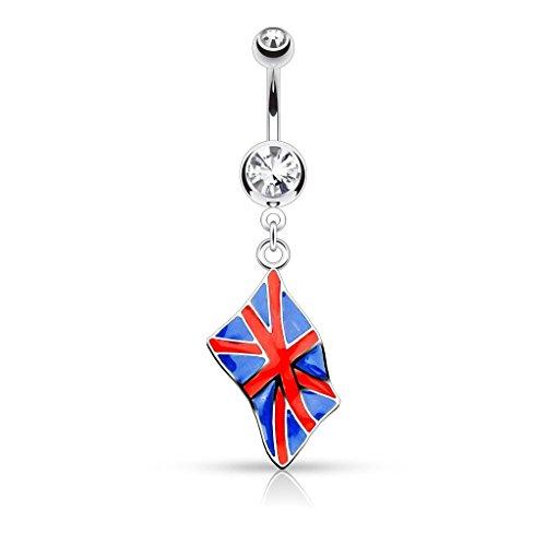 Jeweled Chirurgenstahl, Strass und Emaille Flagge Englisch-Union Jack Flag Großbritannien Großbritannien-flags