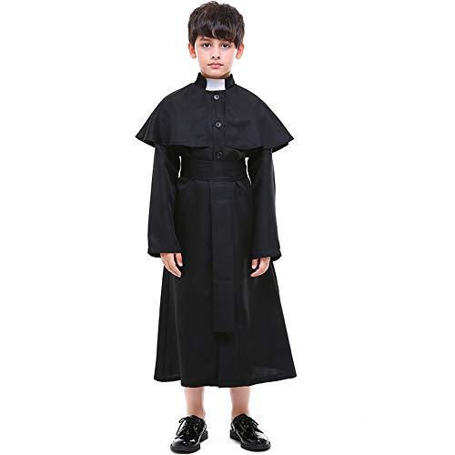 FDHNDER Child Cosplay Kleid Verrücktes Kleid Partei Kostüm Outfit Kinderkirche Priester Rollenspiel Priester Kostüm, L (Höhe 130-140)