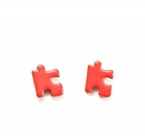 CWS Pendientes de Tuerca con Forma de Pieza de Puzzle Color Caramelo - Naranja