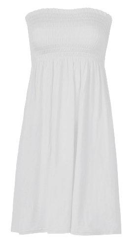 Fast Fashion - Top Plaine Boobtube Sheering Elastique Evasée - Femme Blanc
